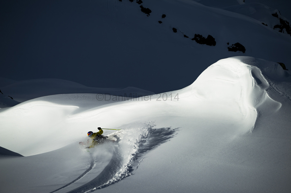 Working safe, mellow, north aspects is all about working the light. Freeride World Tour champ Nadine Wallner works some magic as the snow begins to heavy-up. Shots like this I use manual focus to give me more freedom of composition. Nikon D3s, 70-200/4, 1/1000, f11.